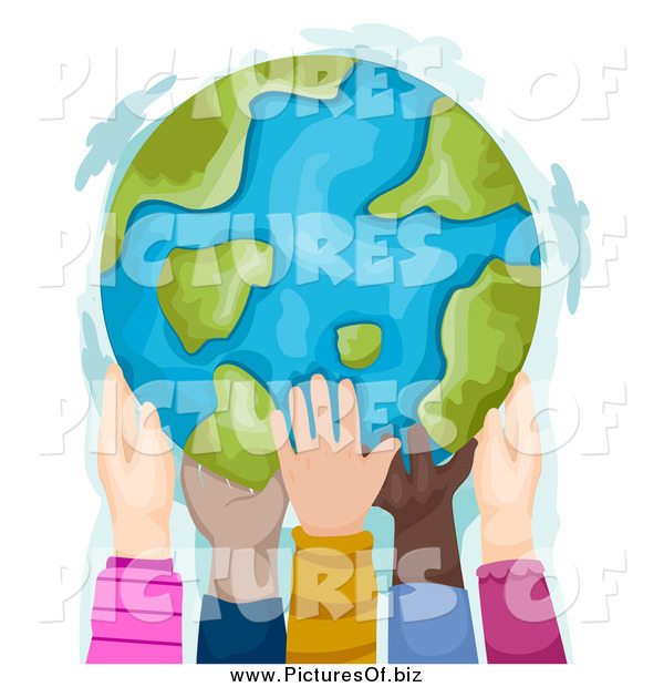 Clipart of Diverse Hands Holding a Globe