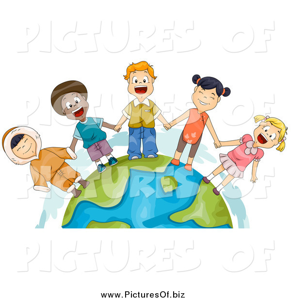 Clipart of Diverse Kids Holding Hands and Standing on Earth