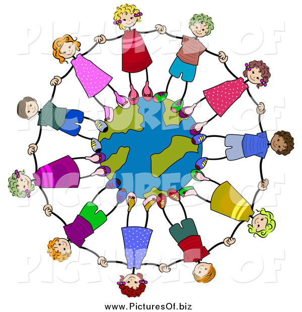 Clipart of Diverse Stick Kids Holding Hands and Standing on a Globe