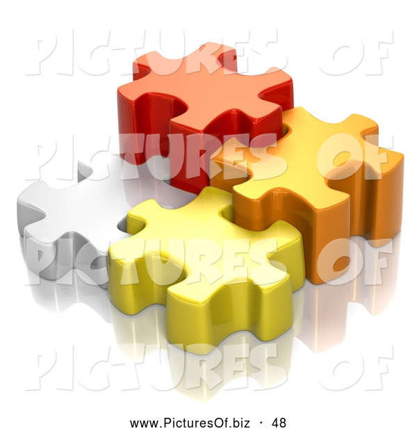 Clipart of Four Different Sized 3d White, Red, Orange and Yellow Puzzle Pieces
