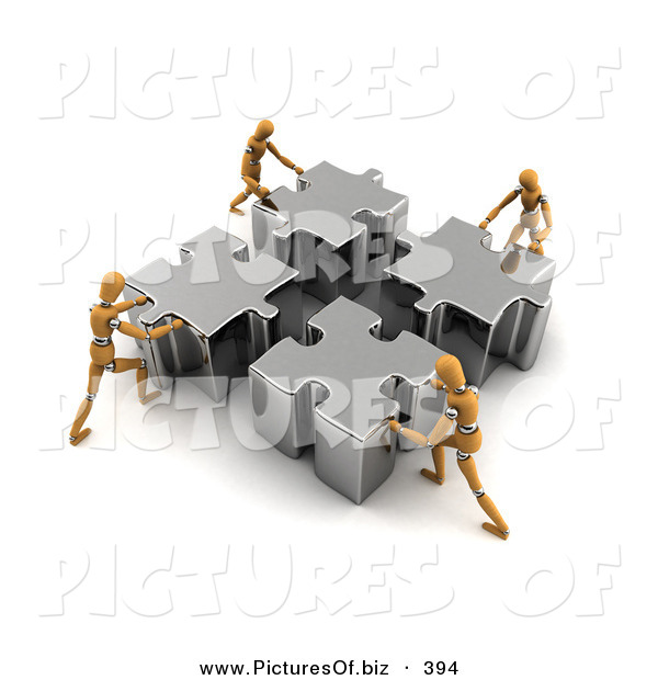 Clipart of Four Orange Models Pushing Metal Pieces of a Puzzle Together