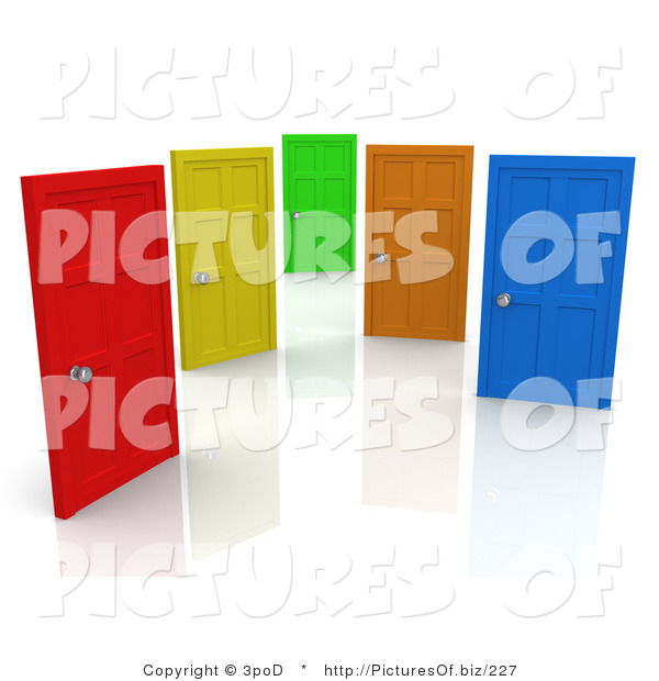 Clipart of Red, Yellow, Green, Orange and Blue Closed Doors, on White Symbolizing Choices and Opportunities