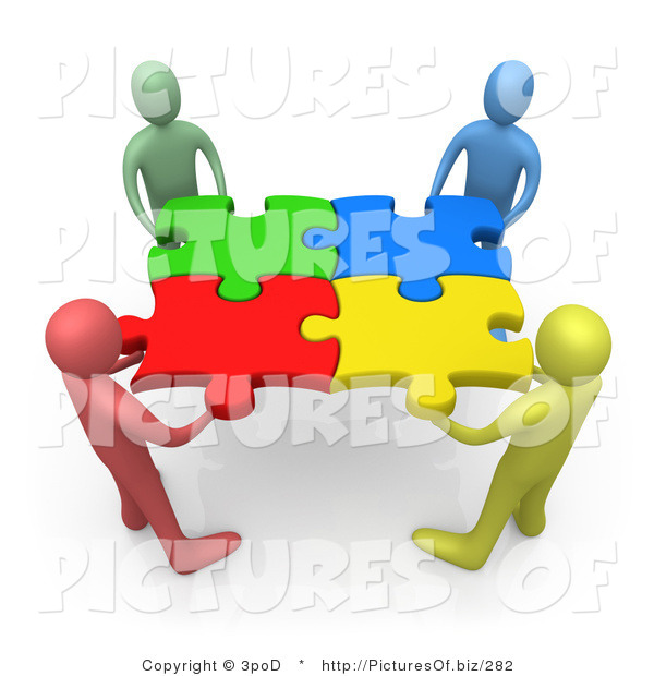 Picture of a Diverse 3d People Holding Connected Puzzle Pieces