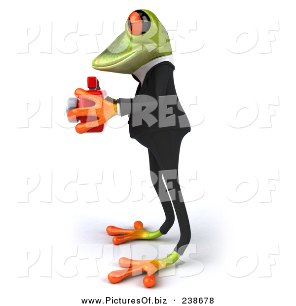 Vector Clipart of a 3d Green Business Frog Taking Pictures