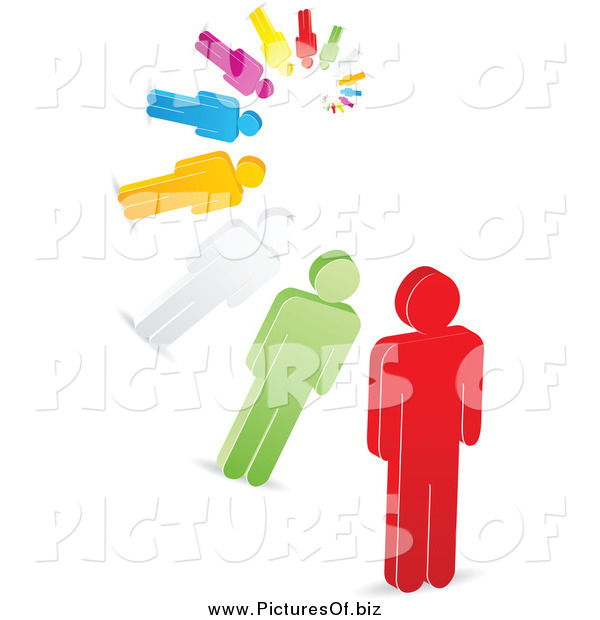 Vector Clipart of a 3d Spiral of Colorful Men