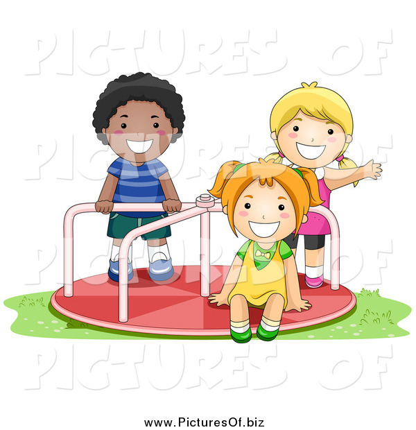 Vector Clipart of a Black Boy and Caucasian Girls Playing on a Playground Roundabout