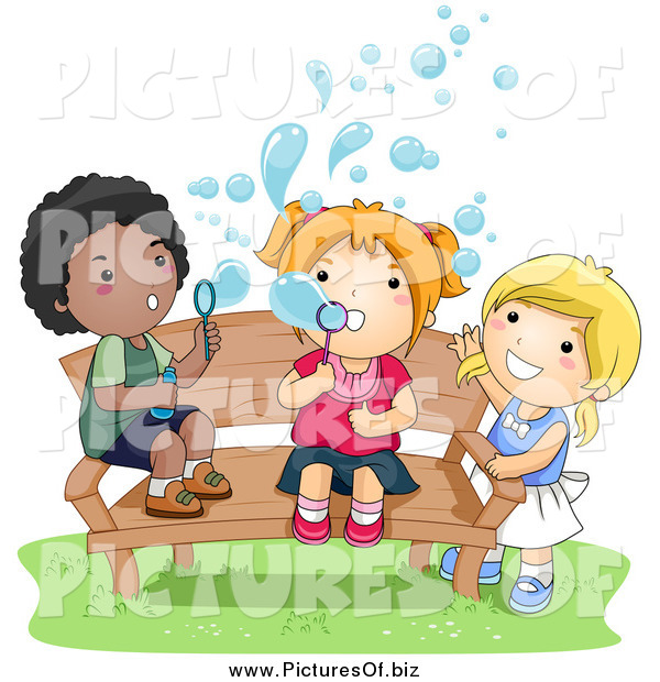 Vector Clipart of a Black Boy and White Girls Blowing Bubbles and Sitting on a Bench