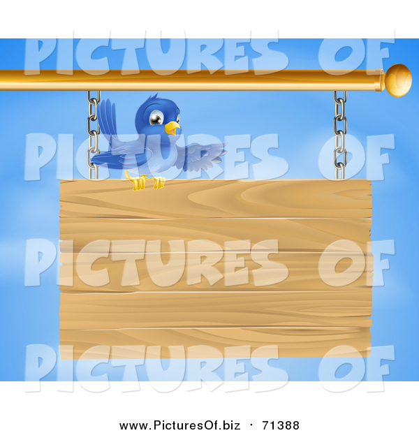 Vector Clipart of a Bluebird Perched on Top of and Presenting a Hanging Wood Sign Against a Sky