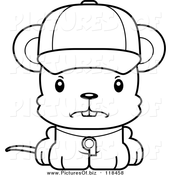 Vector Clipart of a Cartoon Lineart Cute Mad Mouse Coach