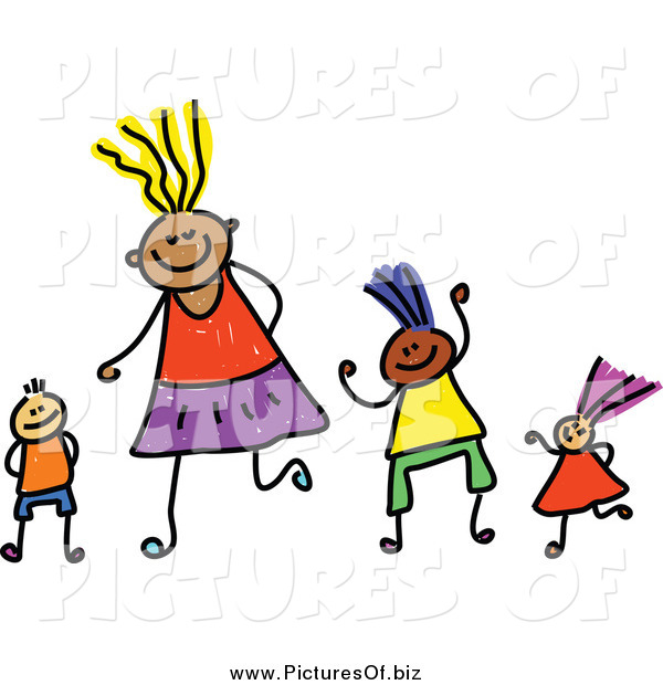 Vector Clipart of a Childs Sketch of Happy Children and Mother