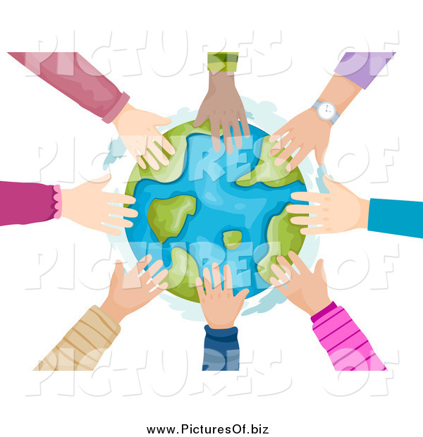 Vector Clipart of a Circle of Children's Hands Touching the Globe