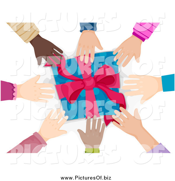 Vector Clipart of a Circle of Diverse Hands Reaching for a Present