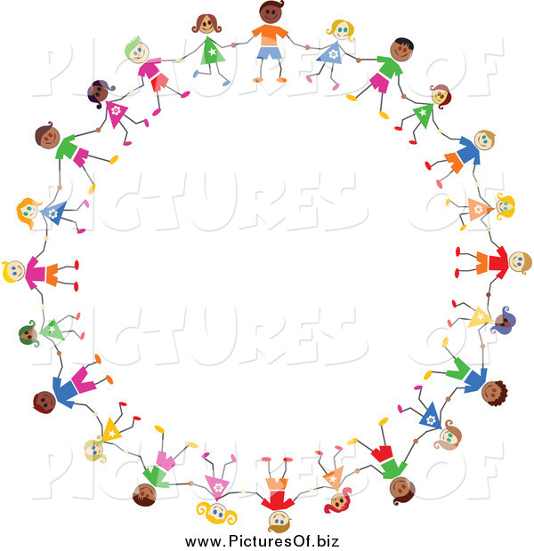 Vector Clipart of a Circle of Diverse Stick Children Holding Hands