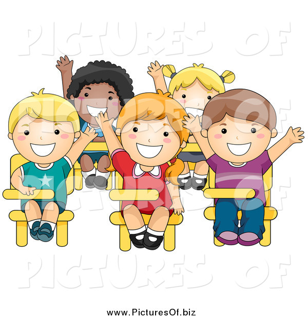 Vector Clipart of a Class of Smart Diverse School Kids Raising Their Hands