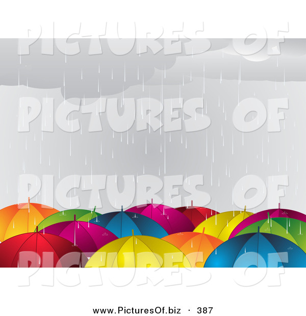 Vector Clipart of a Crowd of Colorful Umbrellas in the Rain During a Storm