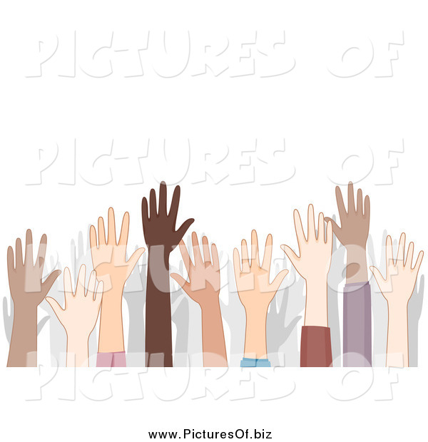 Vector Clipart of a Crowd of Diverse Raised Hands and Shadows