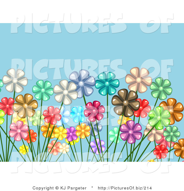 Vector Clipart of a Crowded Garden of White, Red, Yellow, Pink, Brown, Green and Purple Daisy Flowers over a Blue Background
