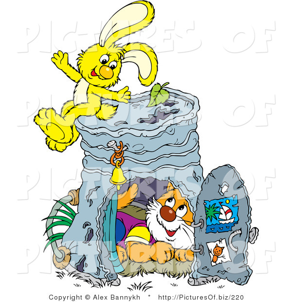 Vector Clipart of a Cute Cat Inside a Pail Club House, a Yellow Bunny Rabbit Sitting on Top