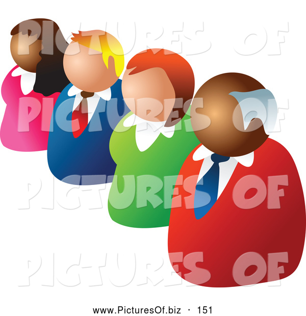 Vector Clipart of a Diagonal Line of Four Diverse Business People