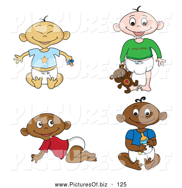 Vector Clipart of a Digital Set of of Black, White, Indian and Asian Babies in Diapers