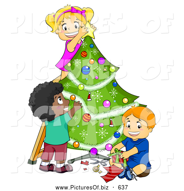 Vector Clipart of a Diverse Children Trimming a Christmas Tree Together