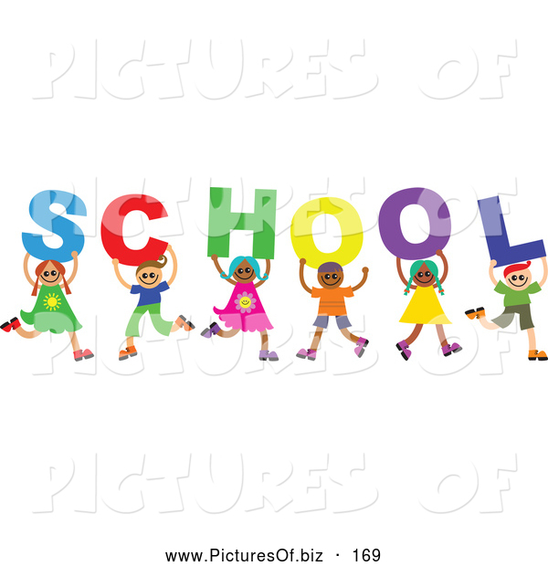 Vector Clipart of a Diverse Group of Six Children Spelling out School