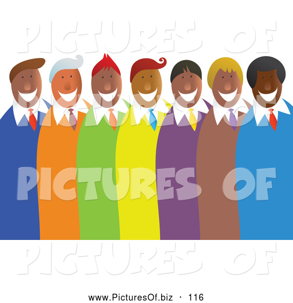 Vector Clipart of a Diverse Group or Team of Happy Men in Colorful Suits