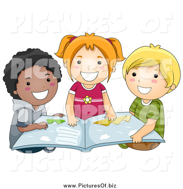 Vector Clipart of a Diverse Happy School Kids Reading a Book
