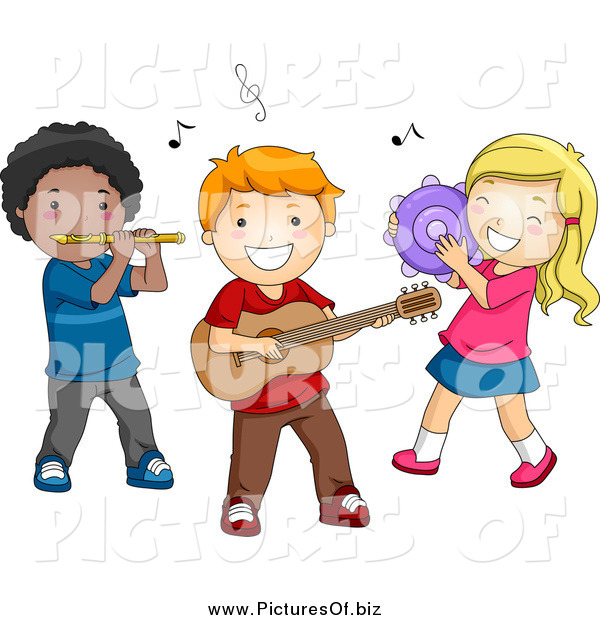 Vector Clipart of a Diverse Musical Preschool Kids Playing Instruments