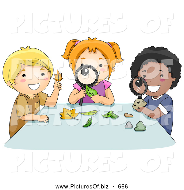 Vector Clipart of a Diverse School Children Inspecting Leaves