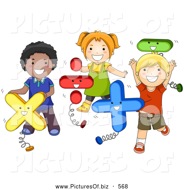 Vector Clipart of a Diverse School Children Playing with Math Shapes