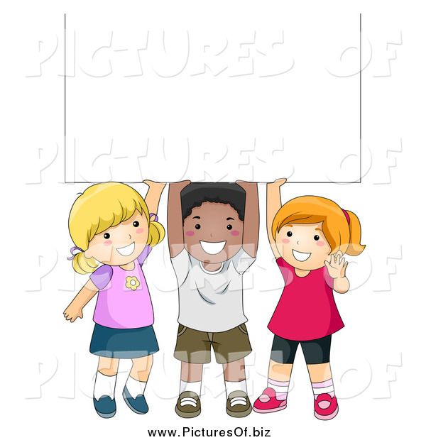 Vector Clipart of a Diverse School Children with a Blank Sign