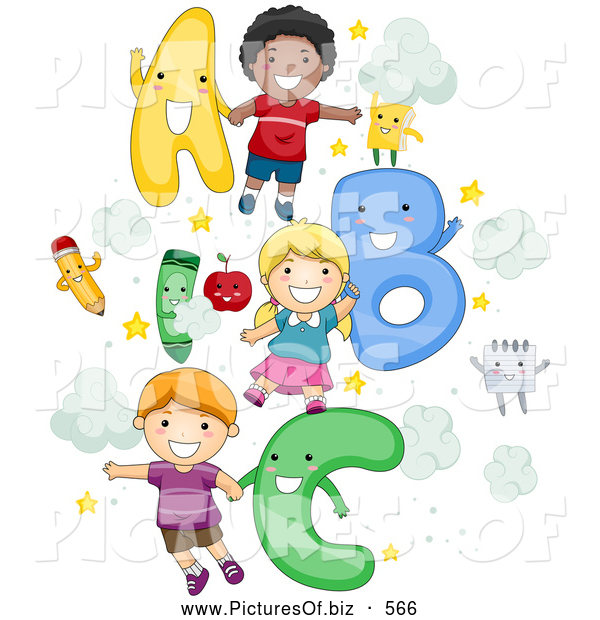 Vector Clipart of a Diverse School Children with Letters