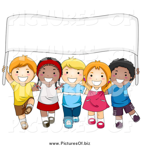 Vector Clipart of a Diverse School Kids Carrying a Sign Banner
