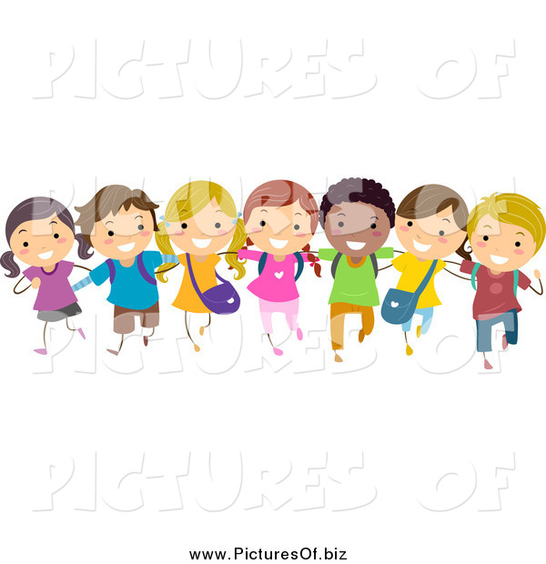Vector Clipart of a Diverse Stick Children in a Line