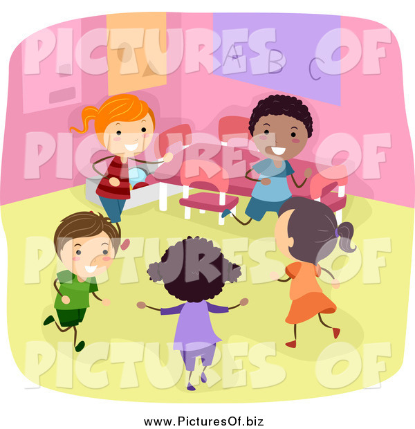 Vector Clipart of a Diverse Stick Children Playing in a Classroom