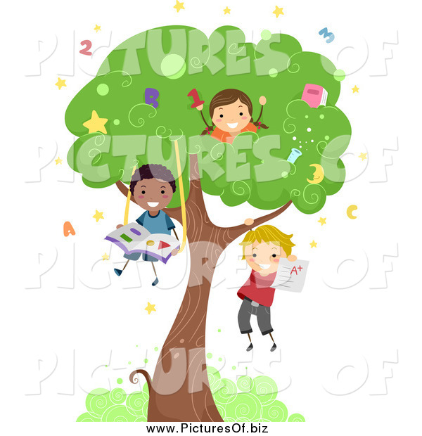 Vector Clipart of a Diverse Stick Children Playing in a Tree