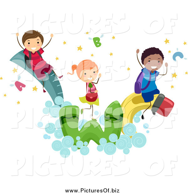 Vector Clipart of a Diverse Stick Students Having Fun on School Items