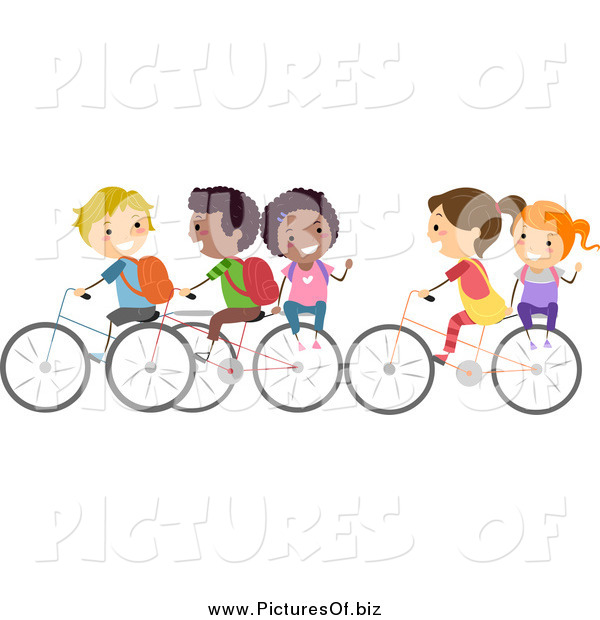 Vector Clipart of a Diverse Stick Students Riding Bikes to School and Waving