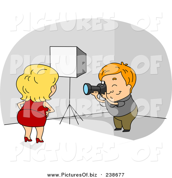 Vector Clipart of a Female Model Posing for a Photographer