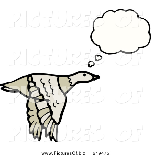 Vector Clipart of a Flying Thinking Goose