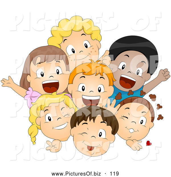 Vector Clipart of a Friendly Group of Happy Diverse Children Smiling and Waving