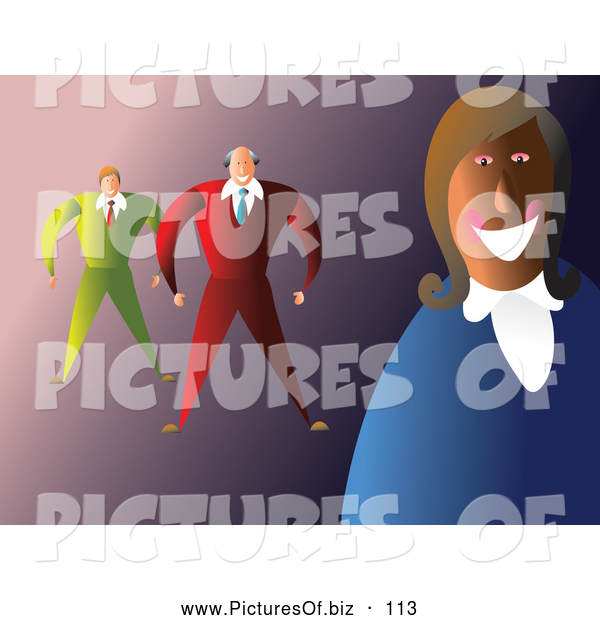 Vector Clipart of a Friendly Happy Smiling Business Team over Purple