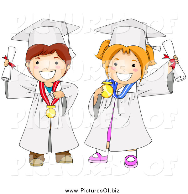 Vector Clipart of a Graduating Boy and Girl in White Gowns