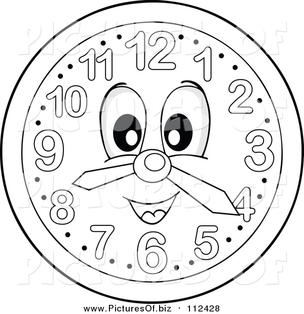 Vector Clipart of a Grayscale Wall Clock Character by ...