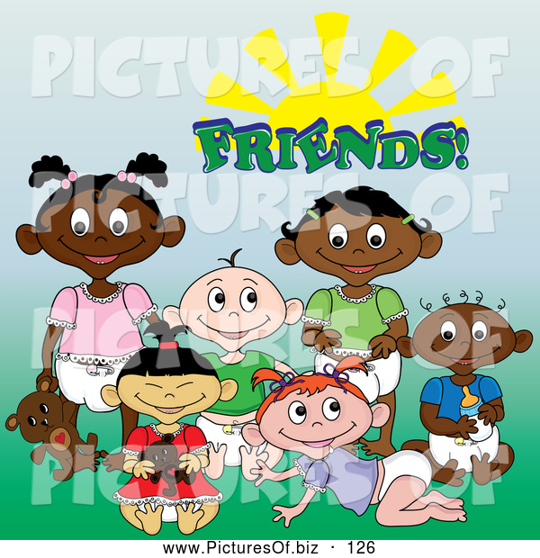 "Vector Clipart of a Group of Black, White, Indian and Asian Baby Friends Under the Word ""Friends"" Sitting on Grass"