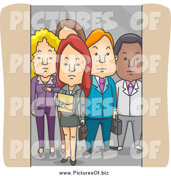 Vector Clipart of a Group of Business People in an Elevator