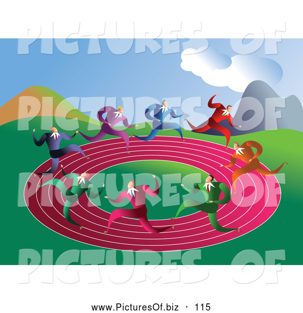 Vector Clipart of a Group of Businessmen Racing on a Round Pink Track