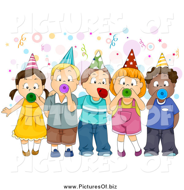 Vector Clipart of a Group of Children Blowing Party Horns