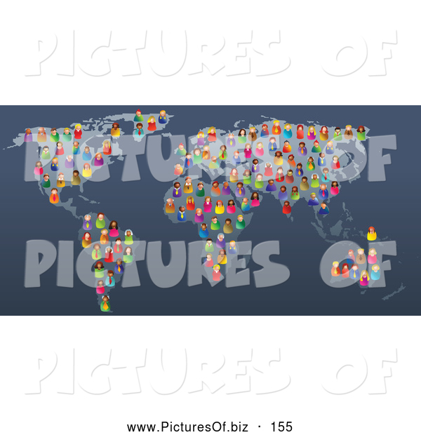 Vector Clipart of a Group of Colorful and Diverse People Scattered on a Map